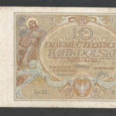 POLONIA 10 ZLOTI ZLOTYCH 1929 [3] P-69 - bancnota europa