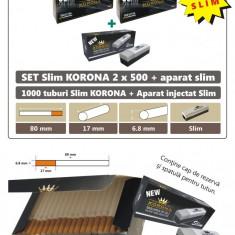 SET - 2x500 tuburi tigari slim Korona pentru tutun + aparat injectat tutun slim - Foite tigari
