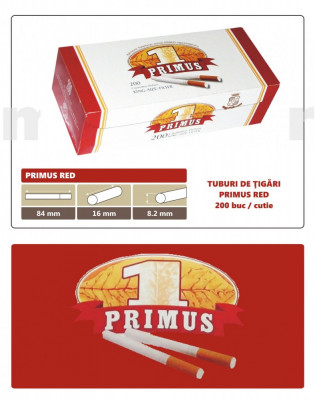 2.000 tuburi de tigari Primus RED, cu filtru rosu pentru injectat tutun foto