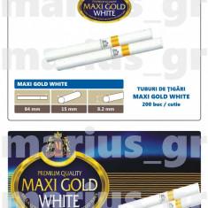 MAXIGOLD WHITE 200 - Tuburi tigari pentru injectat tutun - cu filtru alb - Foite tigari