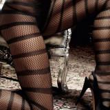 Ciorapi - Baci Ciorapi Negri cu Dungi Diagonale 739 - Lenjerie sexy femei