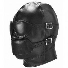 Costume SEX Party Leather Lock Gimp Toy Head Harness Hood Mask Bondage Fetish