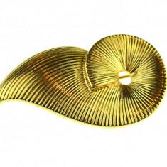 Brosa vintage placata aur 18k, double, design modernist, semnata casa bijuterii - Brosa placate cu aur