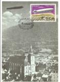 No(2)ilustrata maxima-DIRIJABILE-Zeppelinul LZ 127 survoland Brasovul-prima zi