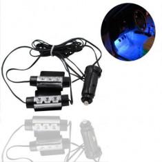 Lumini pentru picioare, auto, 2 module a cate 3 leduri, lumina albastra - Lumini interior auto, Universal