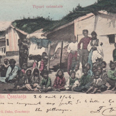 SALUTARI DIN CONSTANTA TIPURI ORIENTALE CLASICA CIRC. 1904 EDIT. T. G. DABO - Carte Postala Dobrogea pana la 1904, Circulata, Printata