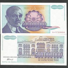 IUGOSLAVIA 500000000 500.000.000 DINARI 1993 UNC [1] P-134, necirculata - bancnota europa