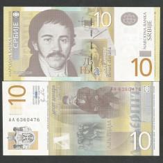 SERBIA 10 DINARI DINARA 2011 UNC [1] P-54a, necirculata - bancnota europa