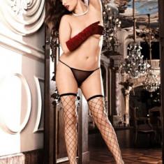 Ciorapi cu Banda - Baci Ciorapi Negri din Plasa 222 - Marime Mare - 1X/2X - Lenjerie sexy femei