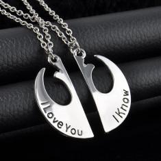 Pandantiv / Colier / Lantisor - Pentru Cuplu -  I love You / I Know