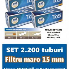 2.200 tuburi de tigari TOBI standard cu filtru maro pentru injectat tutun - Filtru tutun