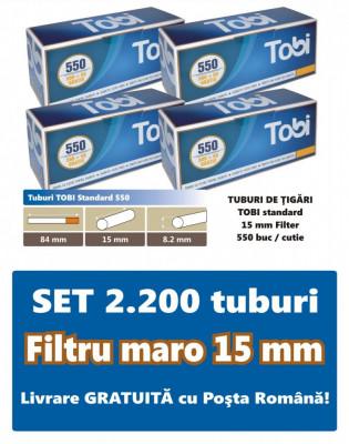 2.200 tuburi de tigari TOBI standard cu filtru maro pentru injectat tutun foto
