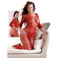 Catsuit-uri - Bodystocking Plasa cu Deschidere intre Picioare - culoare Rosu - Lenjerie sexy femei