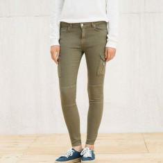 Blugi dama Zara, Marime: 36, Culoare: Grena, Slim Fit, Lungi