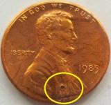 Moneda 1 Cent - SUA / USA, anul 1985 *cod 3725 eroare?