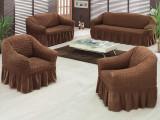 Set huse canapea si fotolii 3.1.1 din bumbac elastic si creponat - Maro