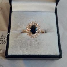 LICHIDEZ COLECTIE- INEL CU SAPHIR SI BRILIANTE - Inel diamant, Carataj aur: 18k, Culoare: Galben