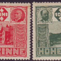 Romania 1924 - Serie dantelata Hohe Rinne, tipar ancrasat, posta locala Paltinis - Timbre Romania, Nestampilat