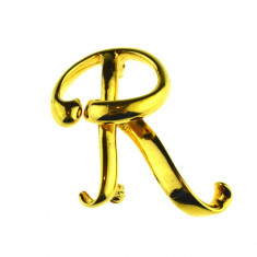 Brosa placata aur 18 k, double, monograma litera R, semnata Anne Klein, vintage - Brosa placate cu aur