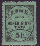 Romania 1909 - Timbru 5h dantelat Hohe Rinne Emisiunea VI, posta locala Paltinis, Nestampilat