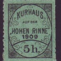 Romania 1909 - Timbru 5h dantelat Hohe Rinne Emisiunea VI, posta locala Paltinis - Timbre Romania, Nestampilat