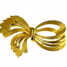 Brosa placata aur 18 k, statement, design modern, casa de bijuterii JJ, vintage - Brosa placate cu aur