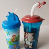 Set 2 Pahare Plastic cu capac si pai, (unul este 3D) cinema film desene animate
