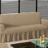 Husa pt canapea 2 Locuri din bumbac elastic si creponat - Bej cacao cu lapte - Cuvertura pat