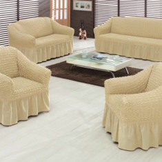 Huse pt 2 fotolii din bumbac elastic si creponat - Bej Natur - Cuvertura pat