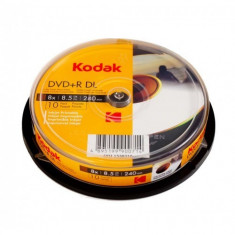 DVD+R Kodak Dual Layer 8.5 GB, Printabile full, cake 10 bucati