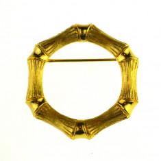 Brosa placata aur gold plated 18k, design retro, semnata casa bijuterii, vintage - Brosa placate cu aur