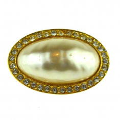 Brosa placata aur, gold plated 18 k, perla sidef, casa bijuterii Sphinx, vintage - Brosa placate cu aur