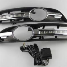 Lumini de zi dedicate VW PASSAT B6 3C 2005+ cu proiector ceata Cromate - DRL