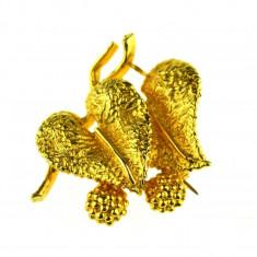 Brosa placata aur, gold plated 18 k, semnata casa bijuterii Exquisite, vintage - Brosa placate cu aur