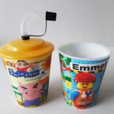 set 2 Pahare Plastic 3D holograma, cu capac si pai, cinema film desene animate