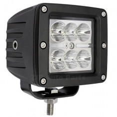 Proiector LED Auto Offroad 18W/12V-24V, Patrat, 1320 Lumeni, Flood Beam 90 Grade - Proiectoare tuning