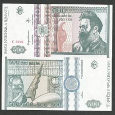 ROMANIA 500 LEI 1992 UNC [1] necirculata, filigran profil - Bancnota romaneasca