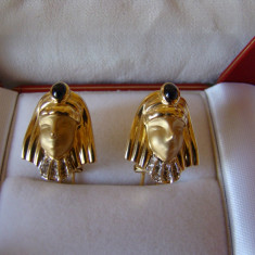 ELEGANTI cercei aur 18kt-cu briliante si safire naturale-superbi(noi) - Cercei cu diamante
