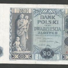 POLONIA 20 ZLOTI ZLOTYCH 1936 [3] P-77, VF - bancnota europa