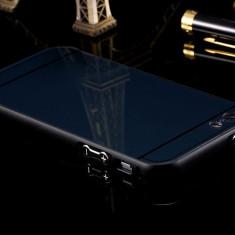 Iphone 5 5S SE - Bumper Aluminiu cu Capac Spate din Plastic Negru - Bumper Telefon Apple