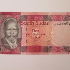 Sudanul de Sud/South Sudan 5 Pounds 2015 UNC - bancnota africa