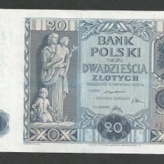 POLONIA 20 ZLOTI ZLOTYCH [2] P-77, VF+ - bancnota europa, An: 1936