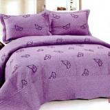 Cuvertura de pat mov, cu 2 fete de perna - Cuvertura pat