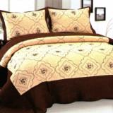 Cuvertura de pat crem cu bordura maro inchis, cu 2 fete de perna - Cuvertura pat