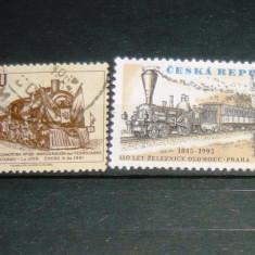 Lot 2 timbre circulate Locomotive Trenuri CEHIA PERU 2+1 gratis RBK20675 - Timbre straine, Stampilat