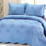 Cuvertura de pat bleu, cu 2 fete de perna - Cuvertura pat