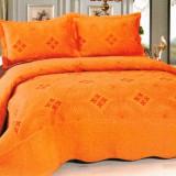 Cuvertura de pat portocalie, cu 2 fete de perna - Cuvertura pat