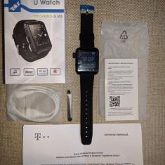 Smartwatch Tellur U8, negru, nou in cutie si tipla, Android, iOS, bluetooth, Alte materiale, watchOS