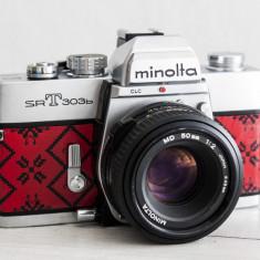 Minolta SRT303b + Rokkor 50 f2, aparat foto vechi functional, pe film, colectie - Aparat Foto cu Film Konica Minolta, SLR, Mic