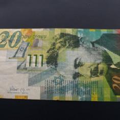 Bancnota Israel de 20 sekeli. - bancnota asia, An: 2008